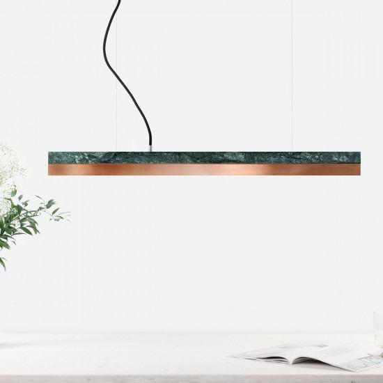 GANTlights C2 Light Verde Guatemala Marble Pendant Light - Various Materials ( 92cm )