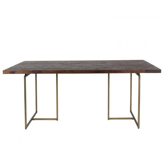 Incredible Dutchbone Class Wood And Brass Dining Table Interior Design Ideas Tzicisoteloinfo