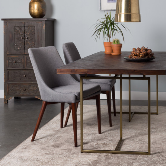 High Quality Class Wood And Brass Dining Table