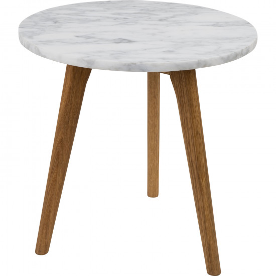 zuiver medium round white marble and oak side table. Black Bedroom Furniture Sets. Home Design Ideas