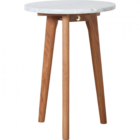 Small Round White Marble And Oak Side Table