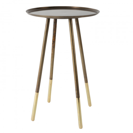 Dutchbone Round Eliot Antique Brass Side Table Designer Furniture