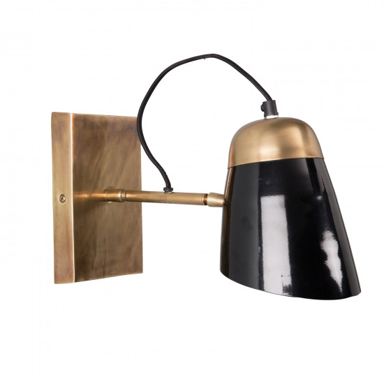 Dutchbone Old School Black And Brass Wall Lamp