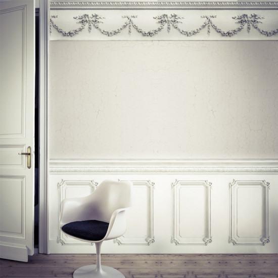 Classic 19th Century Wood Panelling Wallpaper Pale Grey Georgian