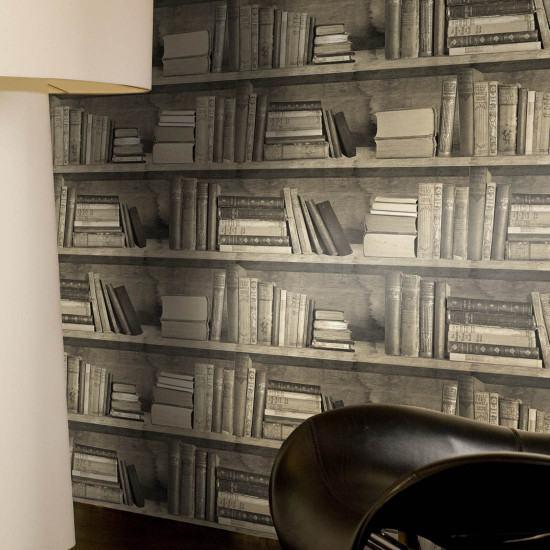 Mineheart Sepia Bookshelf Wallpaper