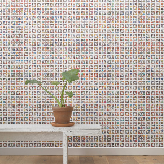 NLXL Lab Crown Caps Wallpaper - White by Jeanine Eek Keizer