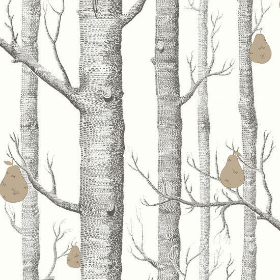 Cole and Son Wood and Pears Wallpaper - White (95-5027) 1 roll from a batch