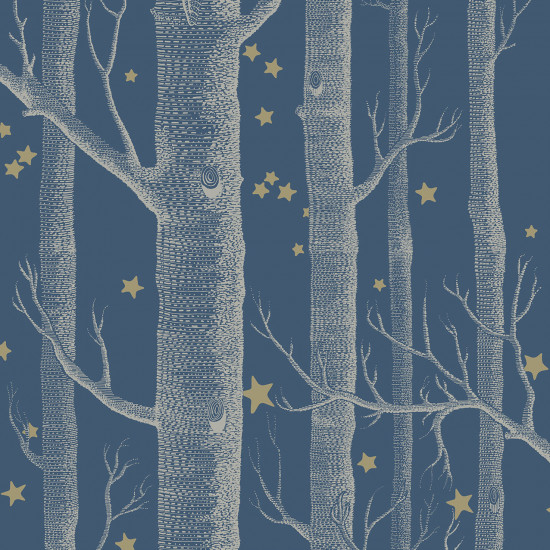 Cole and Son Woods and Stars Wallpaper - Midnight Blue - 1 Roll from a batch at this special price