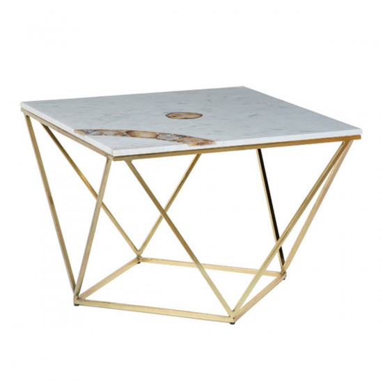 Andrew Martin White Marble Agate Cuva Coffee Table