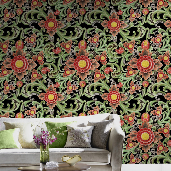 Mind The Gap Green Floral Painting Wallpaper