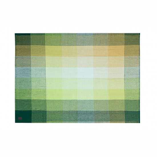 Simon Key Bertman Textile Design & Art - Chess Monochrome Green Throw - 130x180