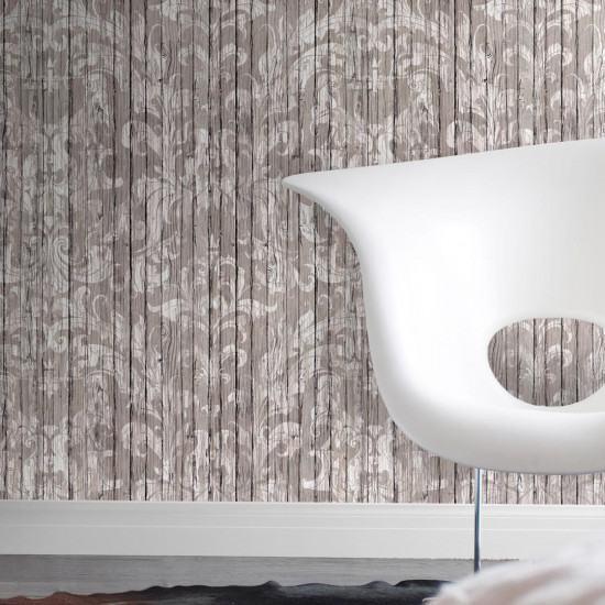 Mineheart Driftwood Damask Wallpaper Light