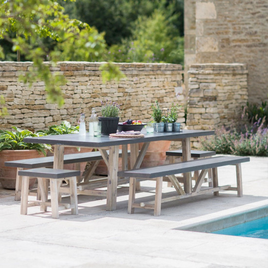 Marvelous Garden Trading Chilson Cement Fibre Table And Bench Set Creativecarmelina Interior Chair Design Creativecarmelinacom