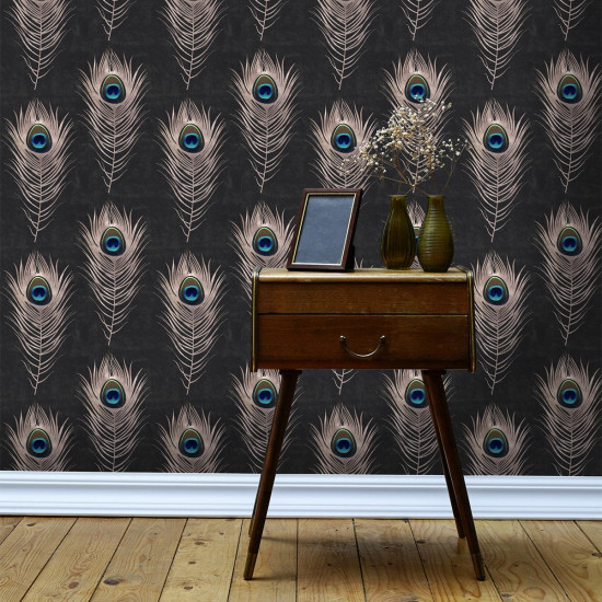 Mind The Gap Peacock Wallpaper