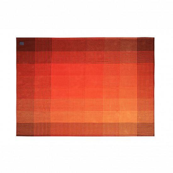 Simon Key Bertman Textile Design & Art Chess Monochrome Red Throw - 130x180