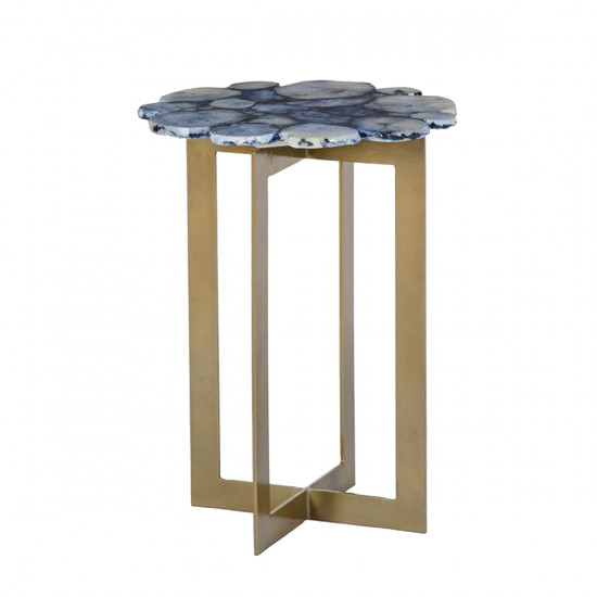 Blue Agate Side Table Cobalt Beut Co Uk