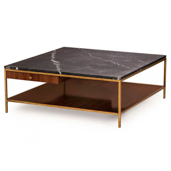 Andrew Martin Black Marble Brass Rufus Coffee Table Beutcouk