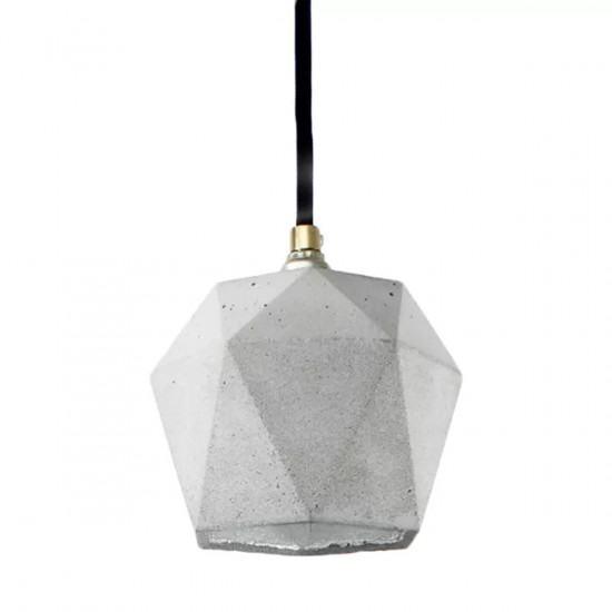 GANTlights T2 Concrete Pendant - Light Concrete - Silver Interior - Grey Cord