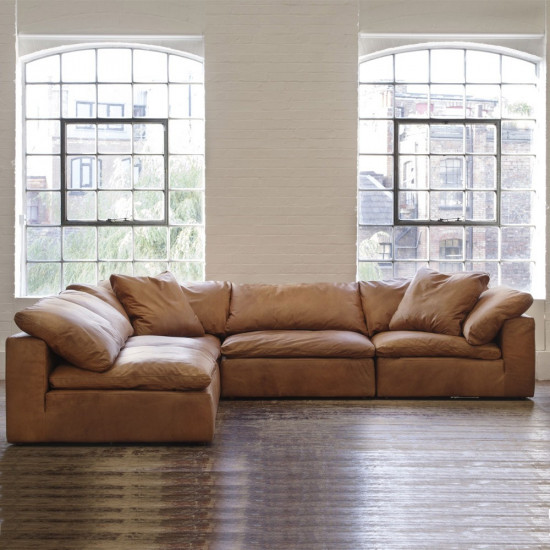 Andrew Martin Truman Sectional Sofa Tan Leather