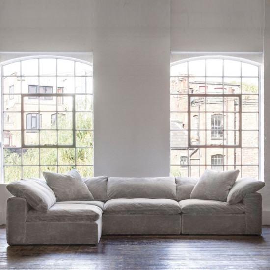 Modern Andrew Martin Truman Sectional Sofa Grey Velvet Simple - Simple Elegant Grey Velvet Sectional sofa For Your Plan
