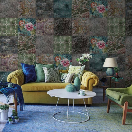 Victorian Mural Wallpaper: YoYo Designs Victorian Concrete Tiles Wallpaper