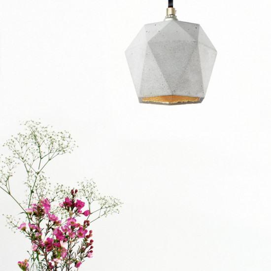 GANTlights T2 Concrete Pendant - Light Concrete - Gold Interior - Grey Cord