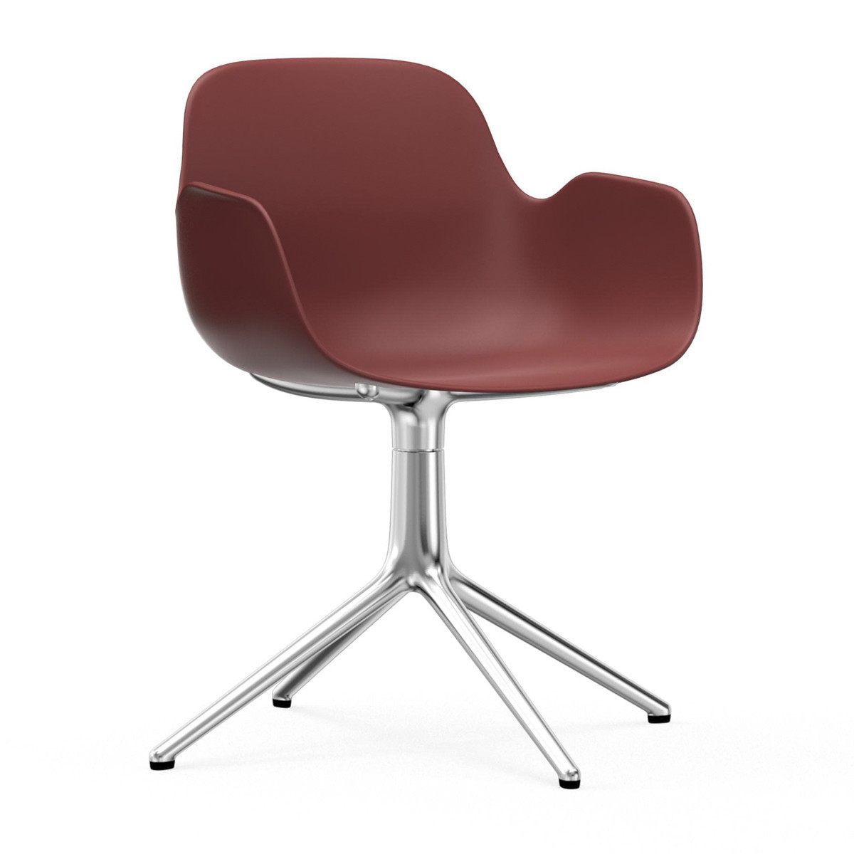Normann Copenhagen Form Swivel Armchair - Red - Aluminium Legs