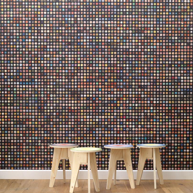 NLXL Lab Crown Caps Wallpaper - Black by Jeanine Eek Keizer