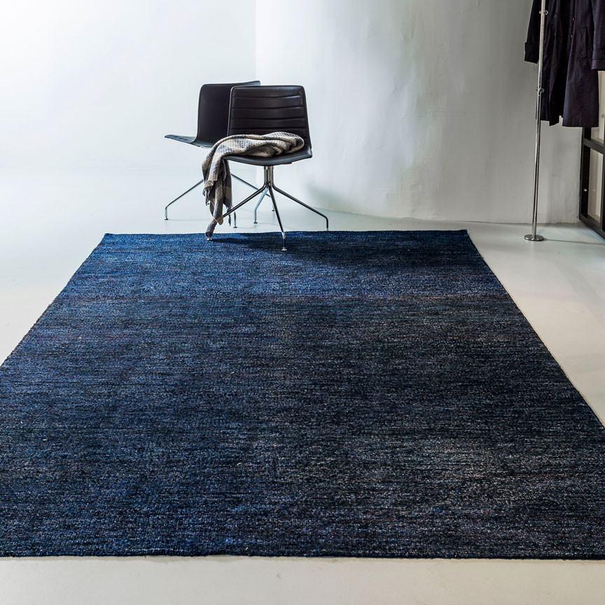 Massimo Silk Rug - Black Blue