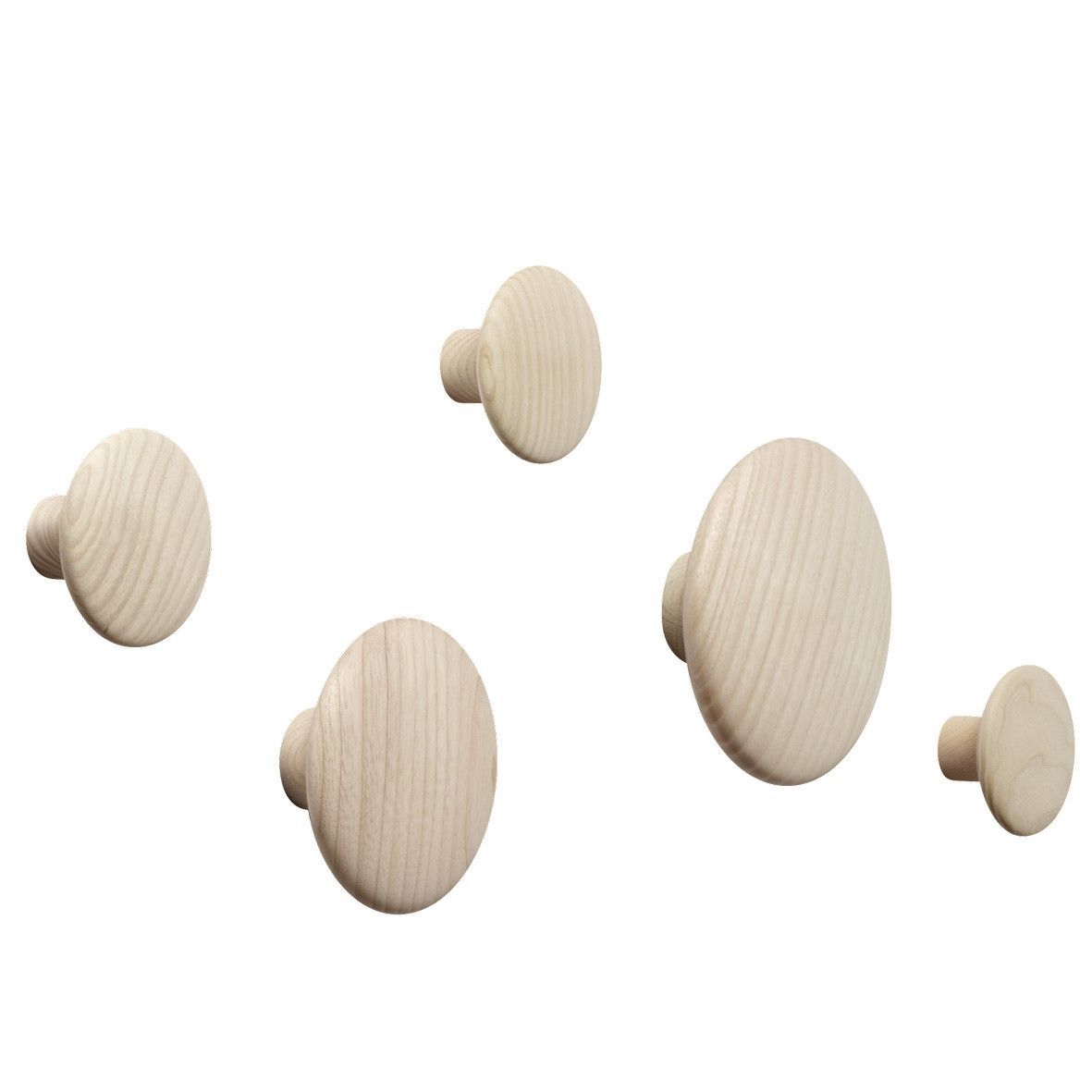 Muuto The Dots Wood Coat Hooks - Set of 5