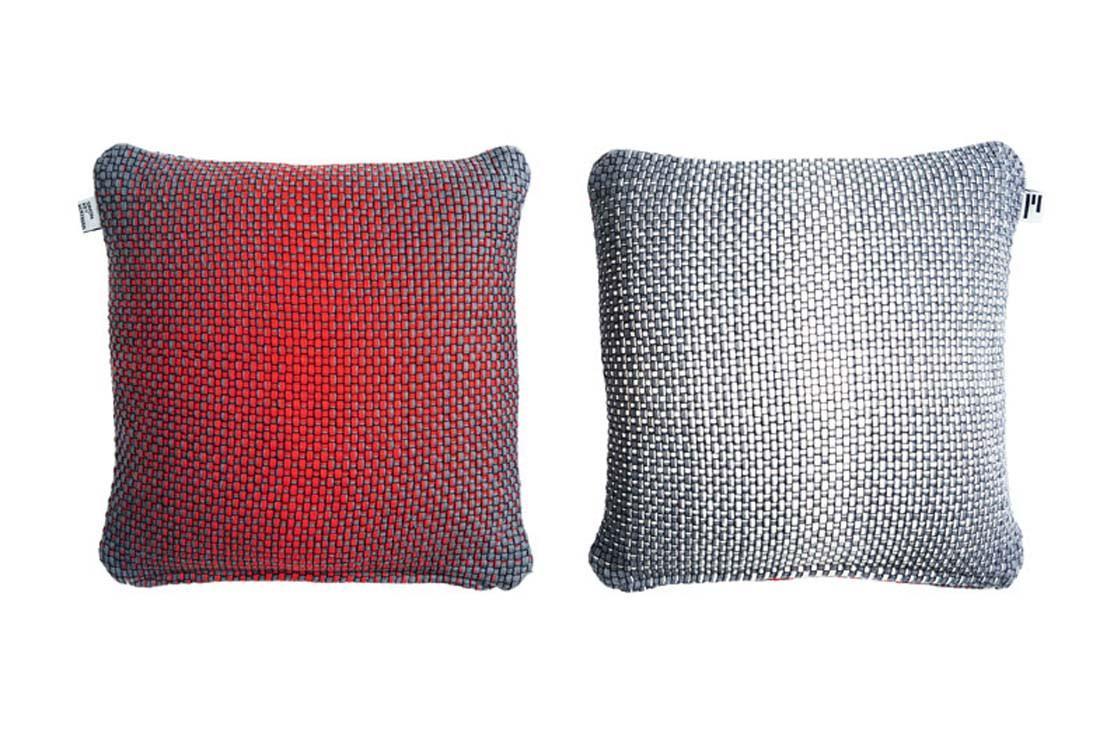 Simon Key Bertman Textile Design & Art -2-Sided Gradient Cushion Cover - Red/Grey