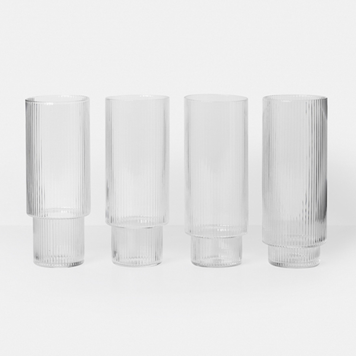Ferm Living Ripple Long Drink Glasses - Set Of 4