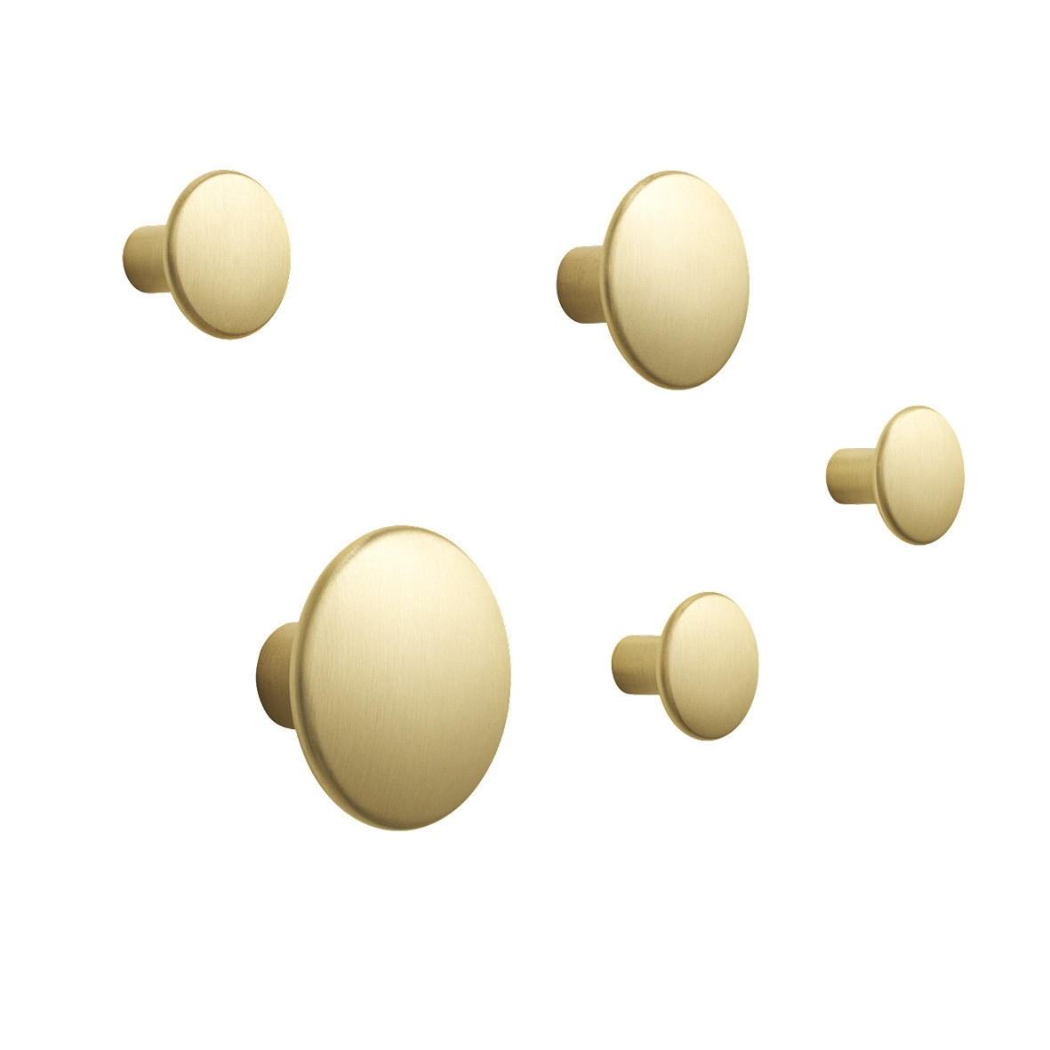 Muuto The Dots Brass Coat Hooks - Set of 5