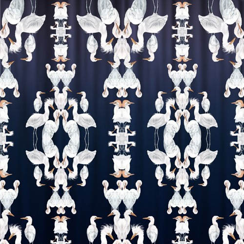 Badgers of Bohemia - Oversized Blue Plumes Wallpaper