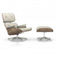 Vitra Eames Lounge Chair and Ottoman - White Pigmented Walnut (Polished Base)