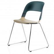 Fritz Hansen Pair Chair, Chrome Sled Base