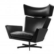 Fritz Hansen Oksen Lounge Chair Black Legs