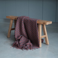 Four Leaf Clover Throw - Solid Grey and Cranberry