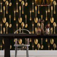 Mind The Gap Brass Cutlery Wallpaper