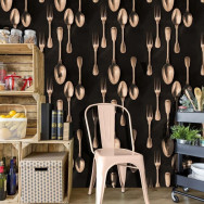 Mind The Gap Copper Cutlery Wallpaper