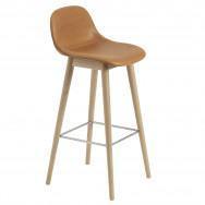 Muuto Fiber Upholstered Wood Base Bar Stool - 75cm