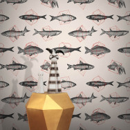 Feathr Fishes in Geometrics Wallpaper by Florent Bodart
