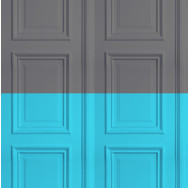 Mineheart Colourblock Panelling Wallpaper - Grey / Turquoise