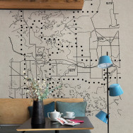 Coordonne Dots Map Mural Wallpaper