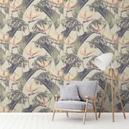 Feathr Tropical Leaves Bird of Paradise Mural