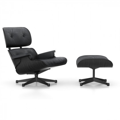 Vitra Eames Lounge Chair and Ottoman - Black Ash (Coated Base)
