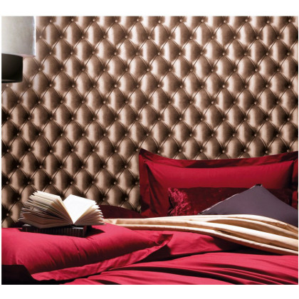 Leather Chesterfield Wallpaper - Brown