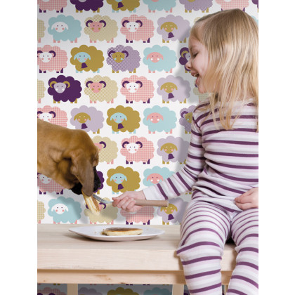 Sheep Nursery Kids Wallpaper - Purple / Pink