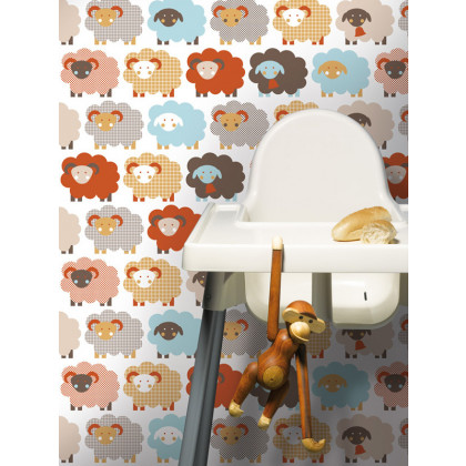 Sheep Nursery Kids Wallpaper - Grey / Brown