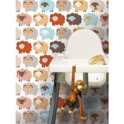 Sheep Nursery Kids Wallpaper - Grey / Brown